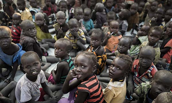 December 2016 - Bentiu, Bentiu POC, South Sudan. Kids under 5 years old at a Mercy Corps supported Unity Primary school in Sector 1, Bentiu POC.